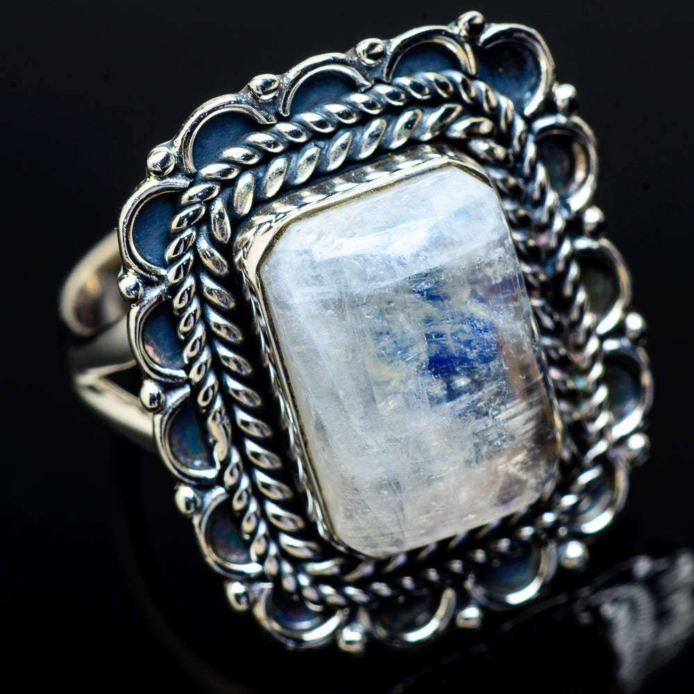 Rainbow Moonstone Rings handcrafted by Ana Silver Co - RING11981
