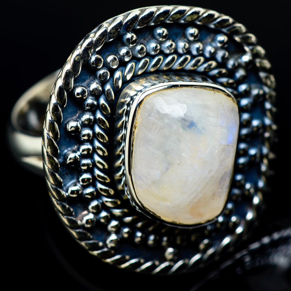 Rainbow Moonstone Rings handcrafted by Ana Silver Co - RING12345