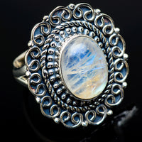 Rainbow Moonstone Rings handcrafted by Ana Silver Co - RING13007