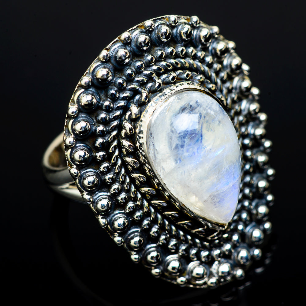 Rainbow Moonstone Rings handcrafted by Ana Silver Co - RING13531