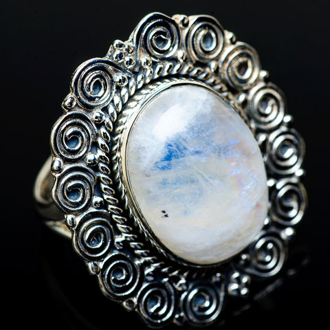 Rainbow Moonstone Rings handcrafted by Ana Silver Co - RING13577