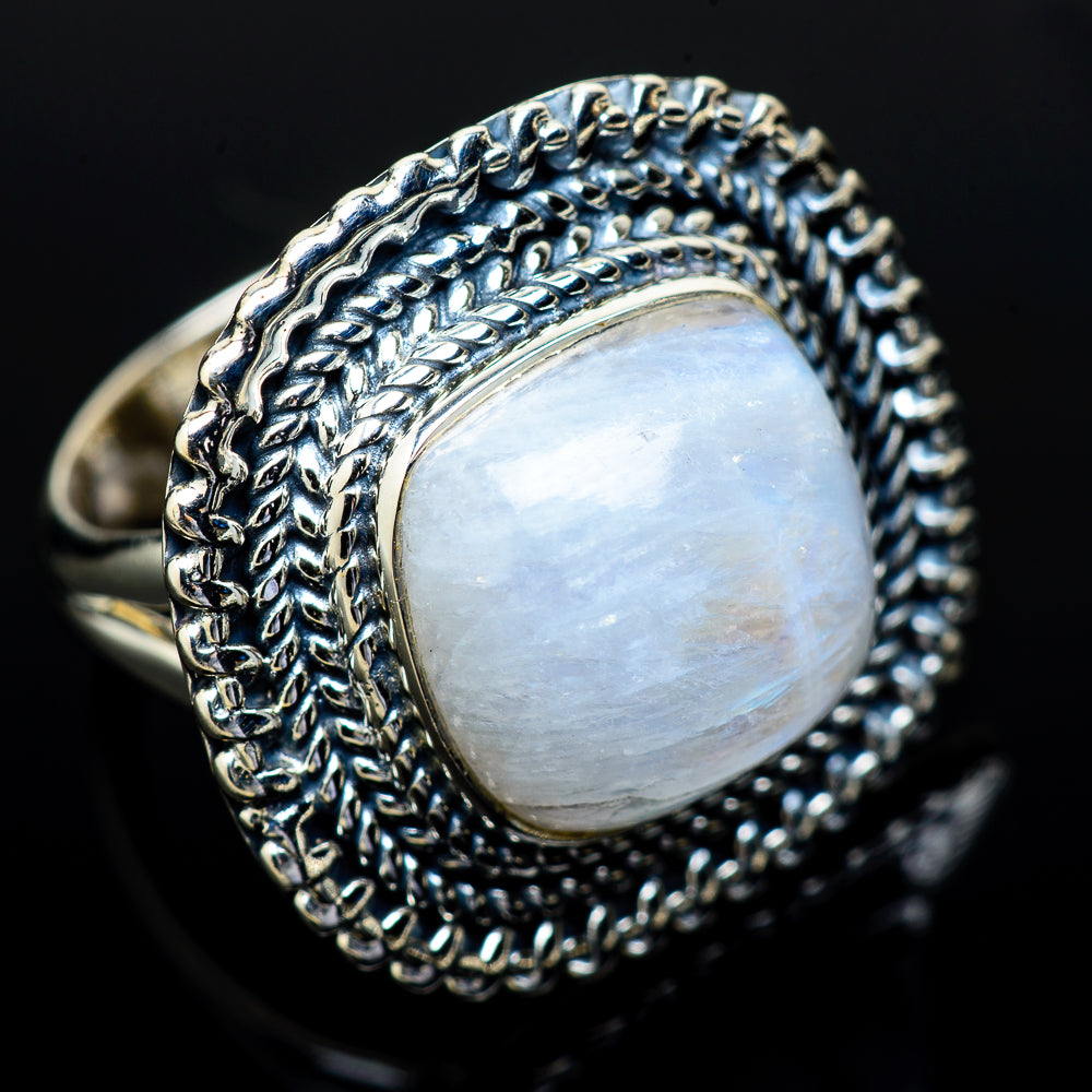 Rainbow Moonstone Rings handcrafted by Ana Silver Co - RING13954