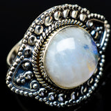Rainbow Moonstone Rings handcrafted by Ana Silver Co - RING14031