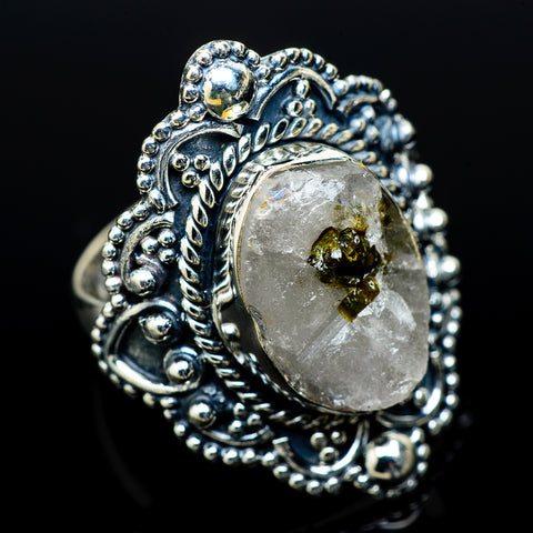 Green Tourmaline In Quartz Rings handcrafted by Ana Silver Co - RING14231