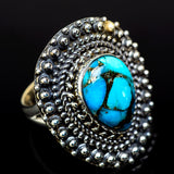 Blue Copper Composite Turquoise Rings handcrafted by Ana Silver Co - RING14441