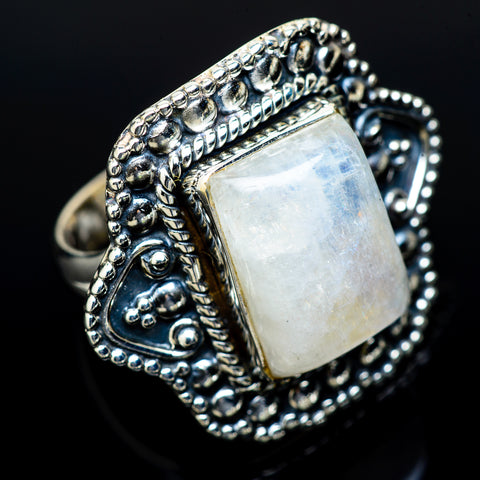 Rainbow Moonstone Rings handcrafted by Ana Silver Co - RING14471