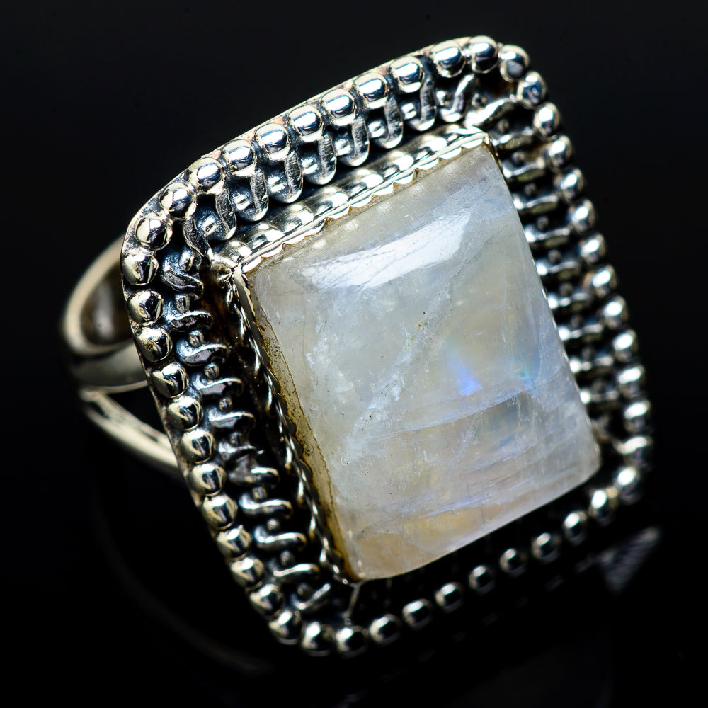Rainbow Moonstone Rings handcrafted by Ana Silver Co - RING14666