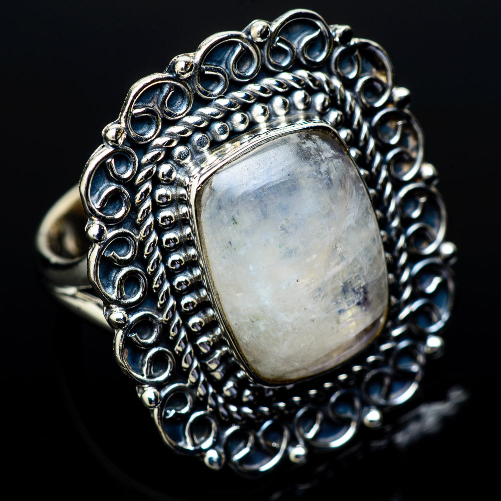 Rainbow Moonstone Rings handcrafted by Ana Silver Co - RING14886