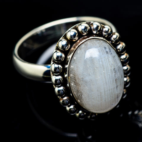 Rainbow Moonstone Rings handcrafted by Ana Silver Co - RING19632