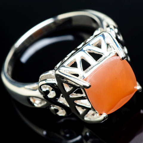 Peach Moonstone Rings handcrafted by Ana Silver Co - RING20017