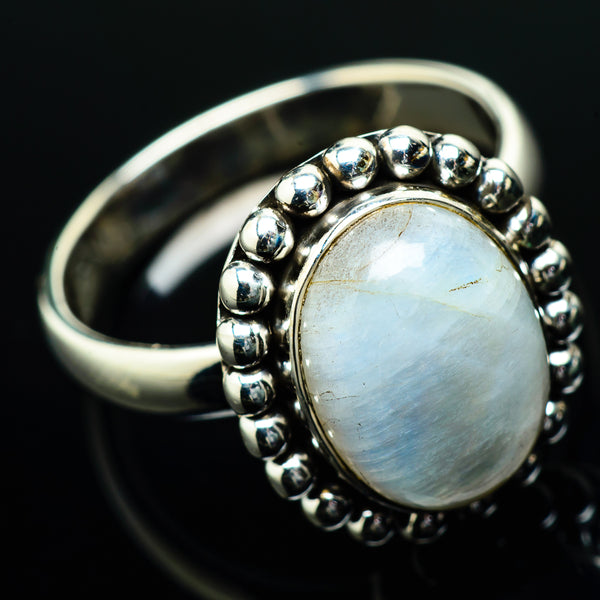 Rainbow Moonstone Rings handcrafted by Ana Silver Co - RING20050