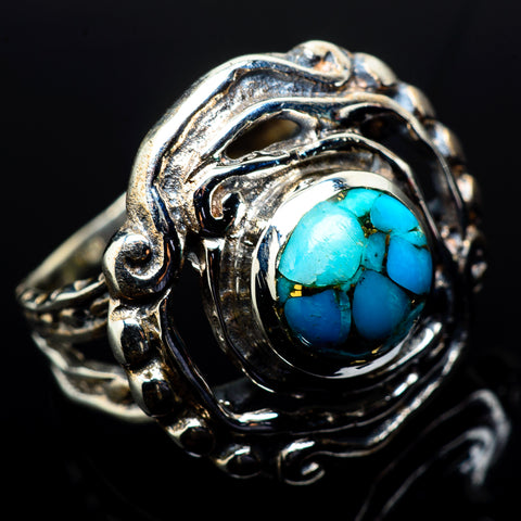 Blue Copper Composite Turquoise Rings handcrafted by Ana Silver Co - RING20460