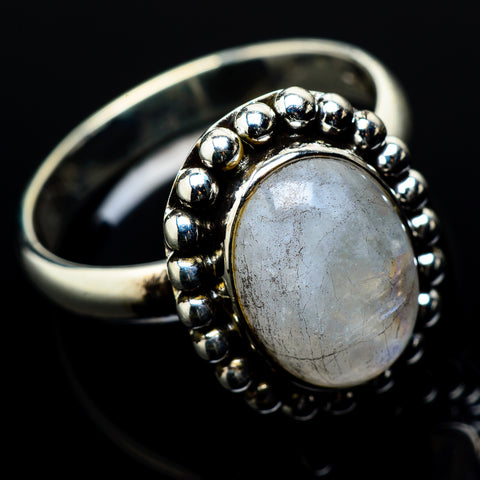 Rainbow Moonstone Rings handcrafted by Ana Silver Co - RING20803