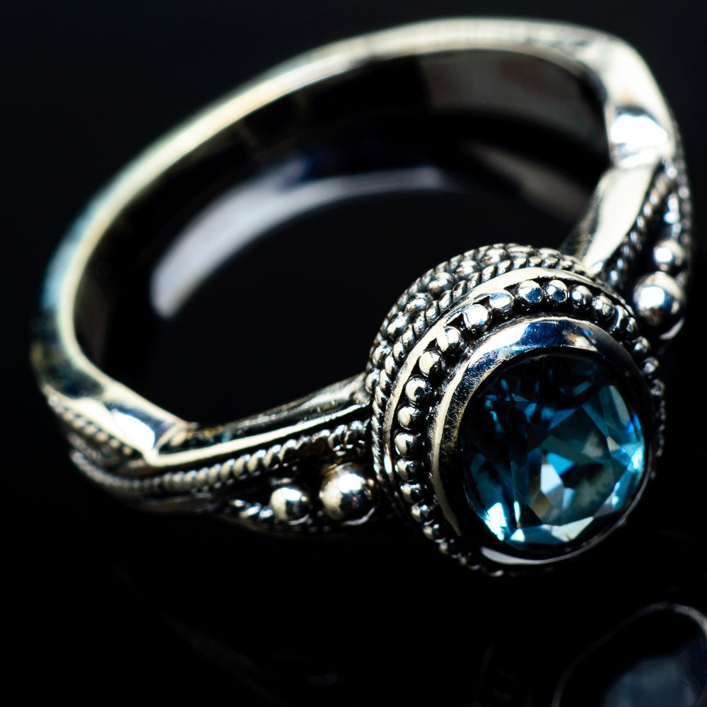 Blue Topaz Rings handcrafted by Ana Silver Co - RING21057