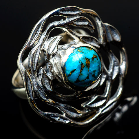 Blue Copper Composite Turquoise Rings handcrafted by Ana Silver Co - RING21130