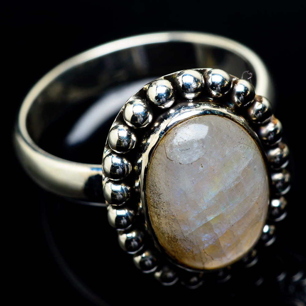Rainbow Moonstone Rings handcrafted by Ana Silver Co - RING23623