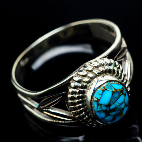 Blue Copper Composite Turquoise Rings handcrafted by Ana Silver Co - RING23652