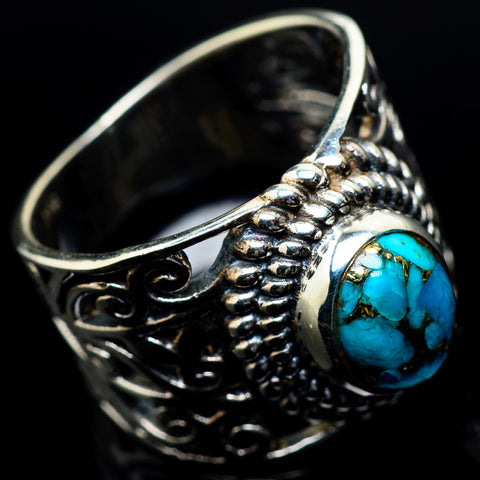 Blue Copper Composite Turquoise Rings handcrafted by Ana Silver Co - RING23684