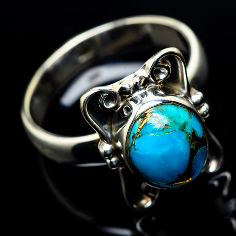 Blue Copper Composite Turquoise Rings handcrafted by Ana Silver Co - RING23799