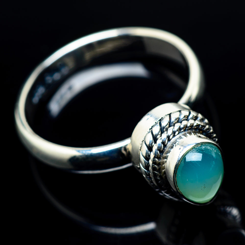 Aqua Chalcedony Rings handcrafted by Ana Silver Co - RING24121