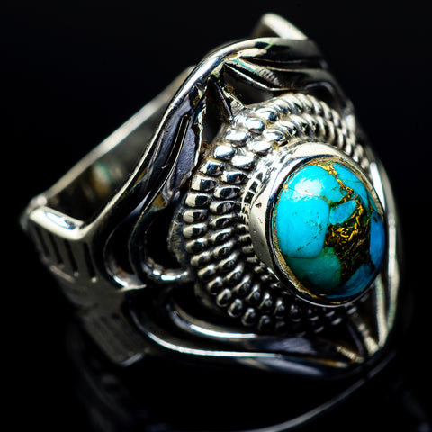 Blue Copper Turquoise Rings handcrafted by Ana Silver Co - RING24507