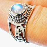 Rainbow Moonstone Rings handcrafted by Ana Silver Co - RING25854