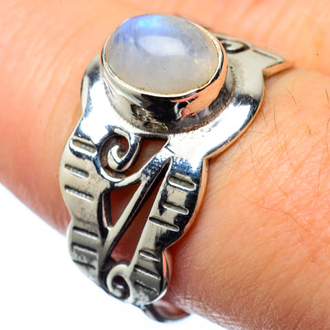 Rainbow Moonstone Rings handcrafted by Ana Silver Co - RING27253