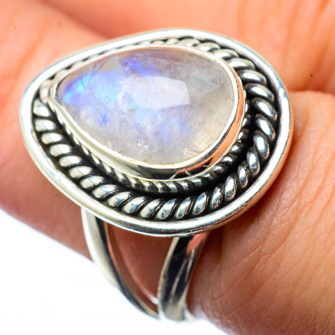 Rainbow Moonstone Rings handcrafted by Ana Silver Co - RING27673