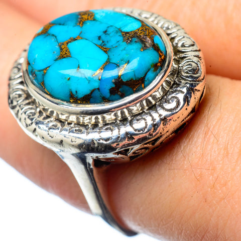 Blue Copper Composite Turquoise Rings handcrafted by Ana Silver Co - RING27873