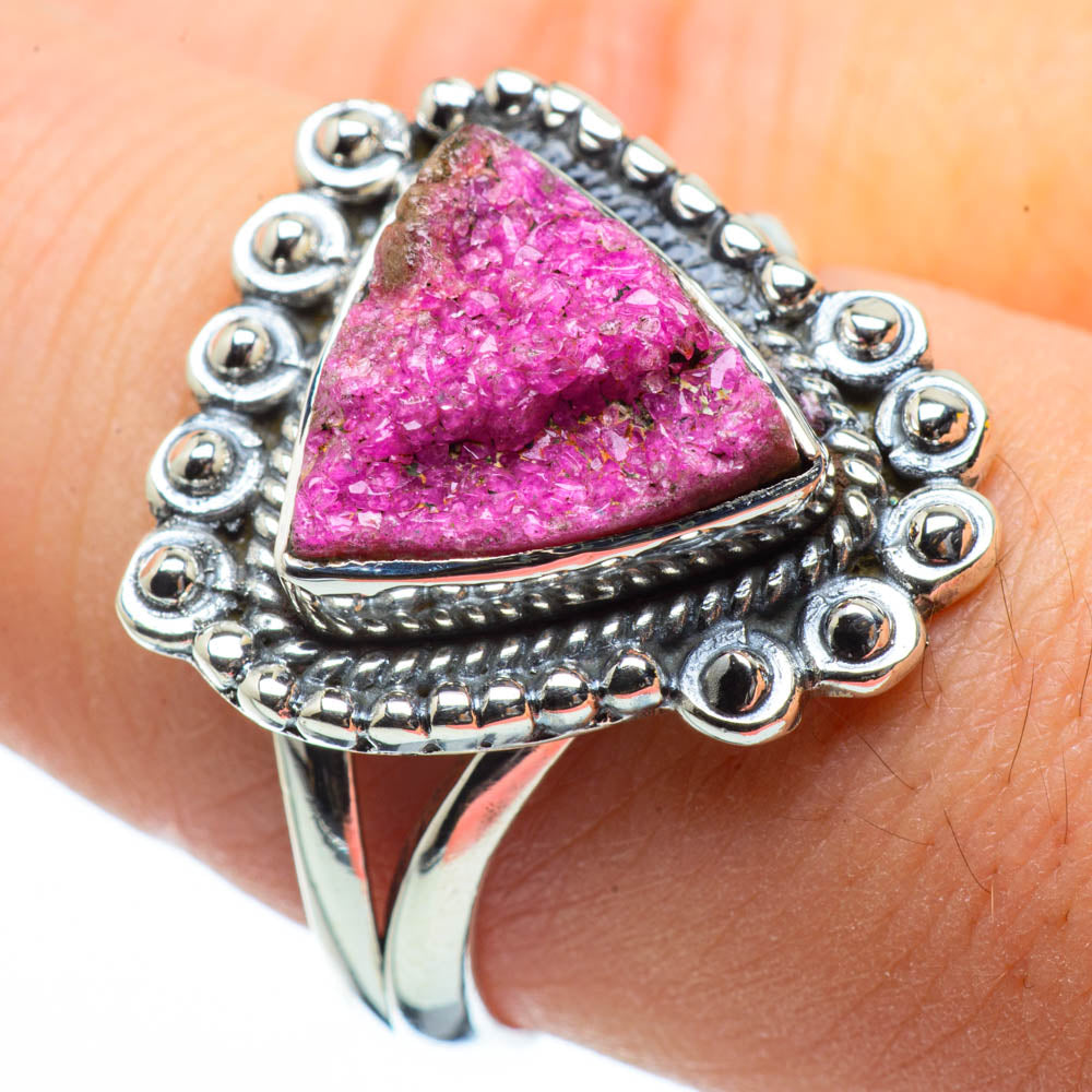 Cobalto Calcite Druzy Rings handcrafted by Ana Silver Co - RING29215