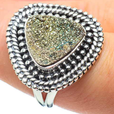 Spectro Pyrite Druzy Rings handcrafted by Ana Silver Co - RING29218