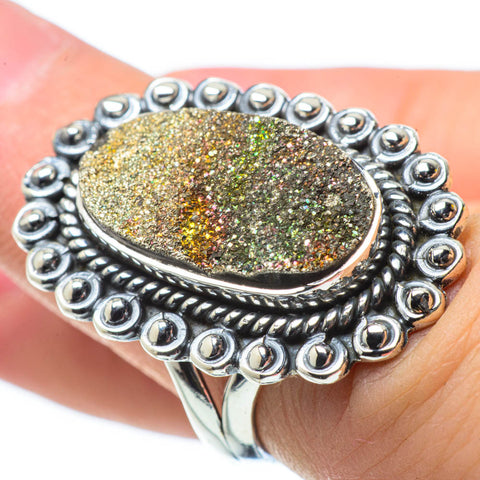 Spectro Pyrite Druzy Rings handcrafted by Ana Silver Co - RING29528