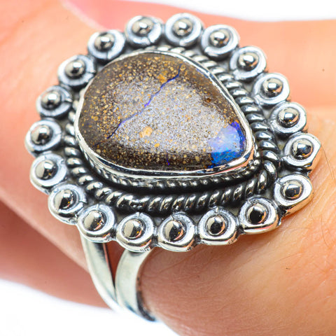Boulder Opal Rings handcrafted by Ana Silver Co - RING29664