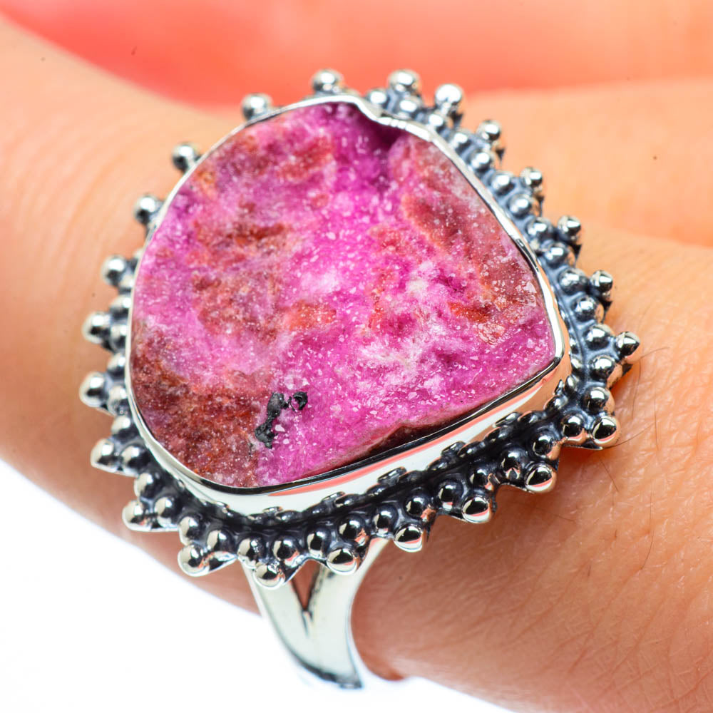 Cobalto Calcite Druzy Rings handcrafted by Ana Silver Co - RING30124