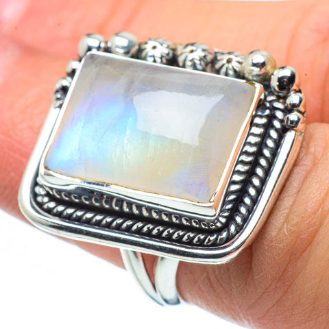 Rainbow Moonstone Rings handcrafted by Ana Silver Co - RING30341