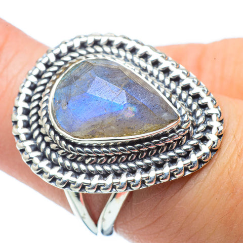 Rainbow Moonstone Rings handcrafted by Ana Silver Co - RING32159