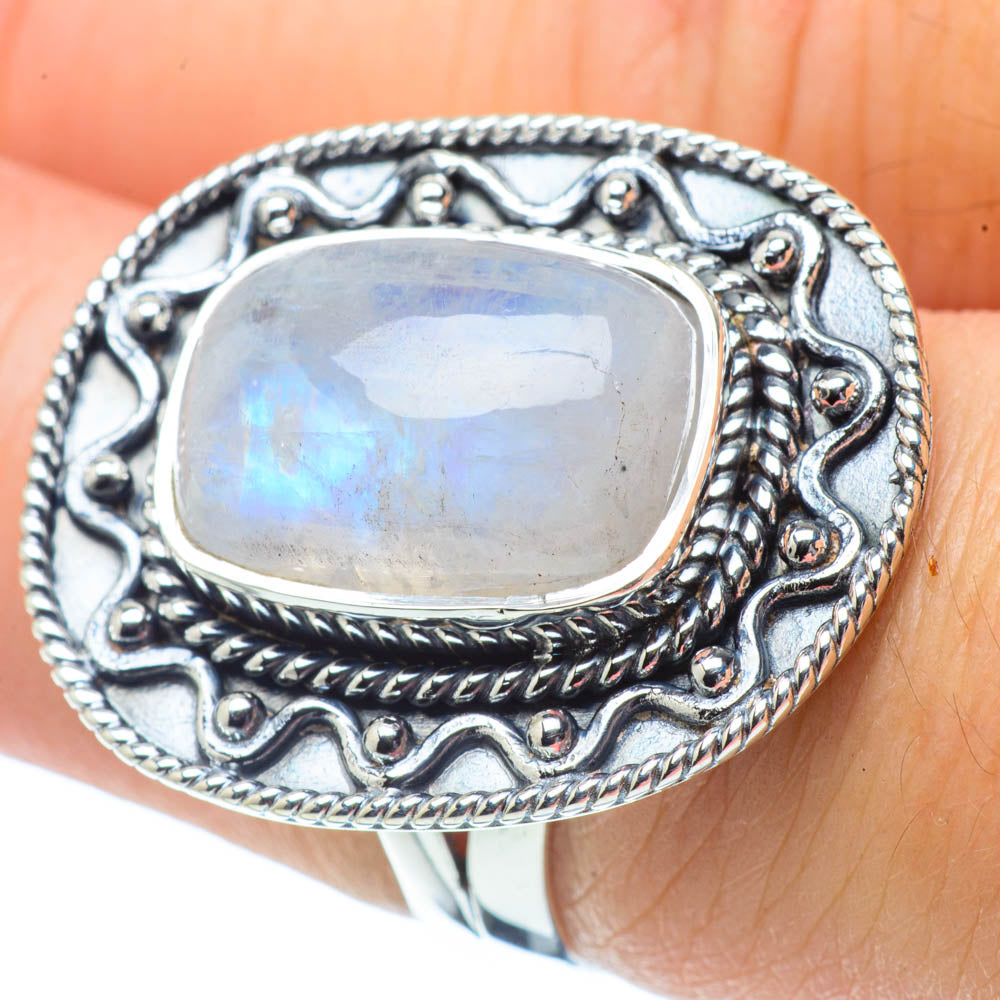 Rainbow Moonstone Rings handcrafted by Ana Silver Co - RING32191
