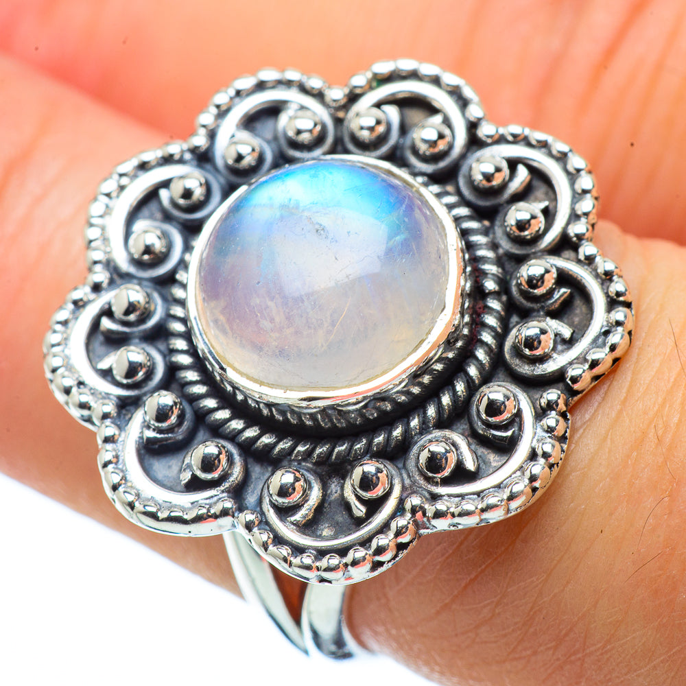 Rainbow Moonstone Rings handcrafted by Ana Silver Co - RING32543