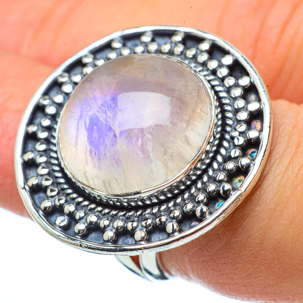 Rainbow Moonstone Rings handcrafted by Ana Silver Co - RING33420