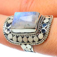 Rainbow Moonstone Rings handcrafted by Ana Silver Co - RING33608