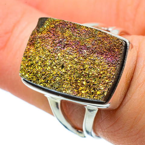 Spectro Pyrite Druzy Rings handcrafted by Ana Silver Co - RING33811