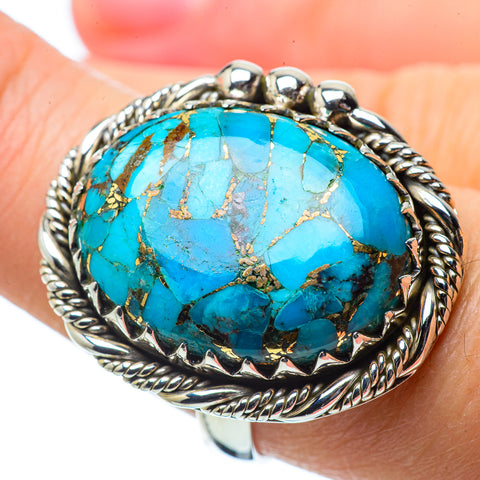 Blue Copper Composite Turquoise Rings handcrafted by Ana Silver Co - RING33964
