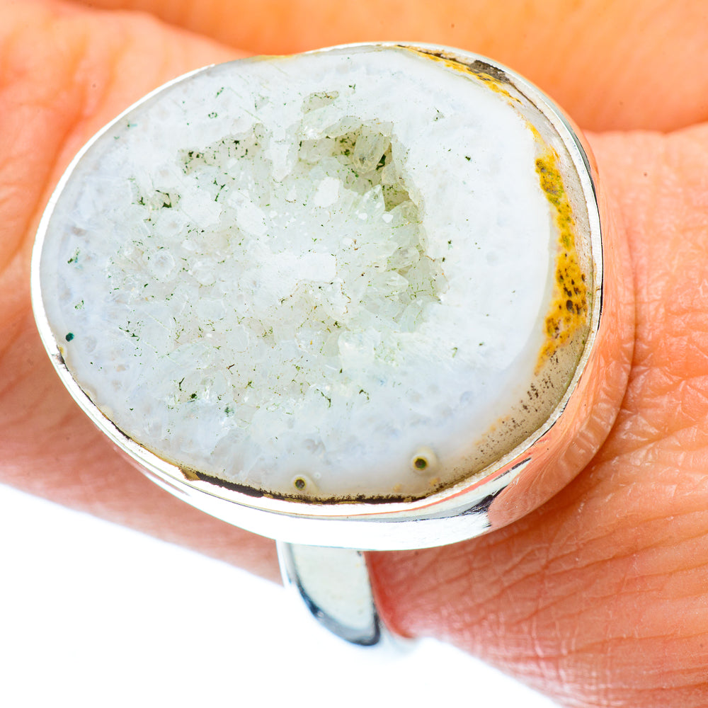 White Geode Slice Rings handcrafted by Ana Silver Co - RING34650