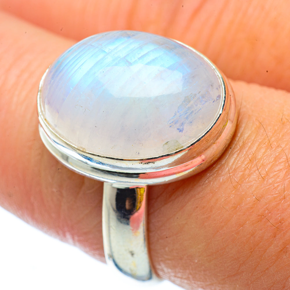 Rainbow Moonstone Rings handcrafted by Ana Silver Co - RING34783