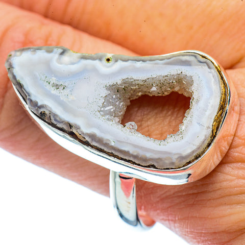 White Geode Slice Rings handcrafted by Ana Silver Co - RING36491