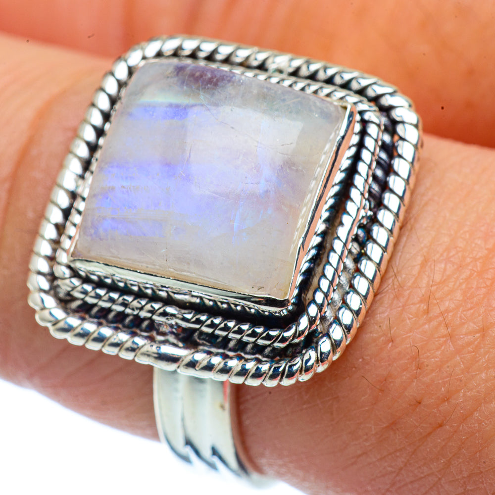 Details about  /Moonstone Ring 925 Sterling Silver Ring Handmade Ring Wide Ring All Size AK-452
