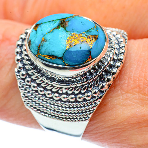Blue Copper Composite Turquoise Rings handcrafted by Ana Silver Co - RING38946