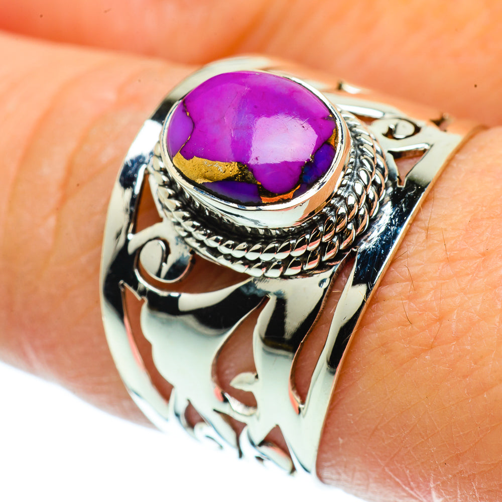 Purple Copper Composite Turquoise Rings handcrafted by Ana Silver Co - RING39354