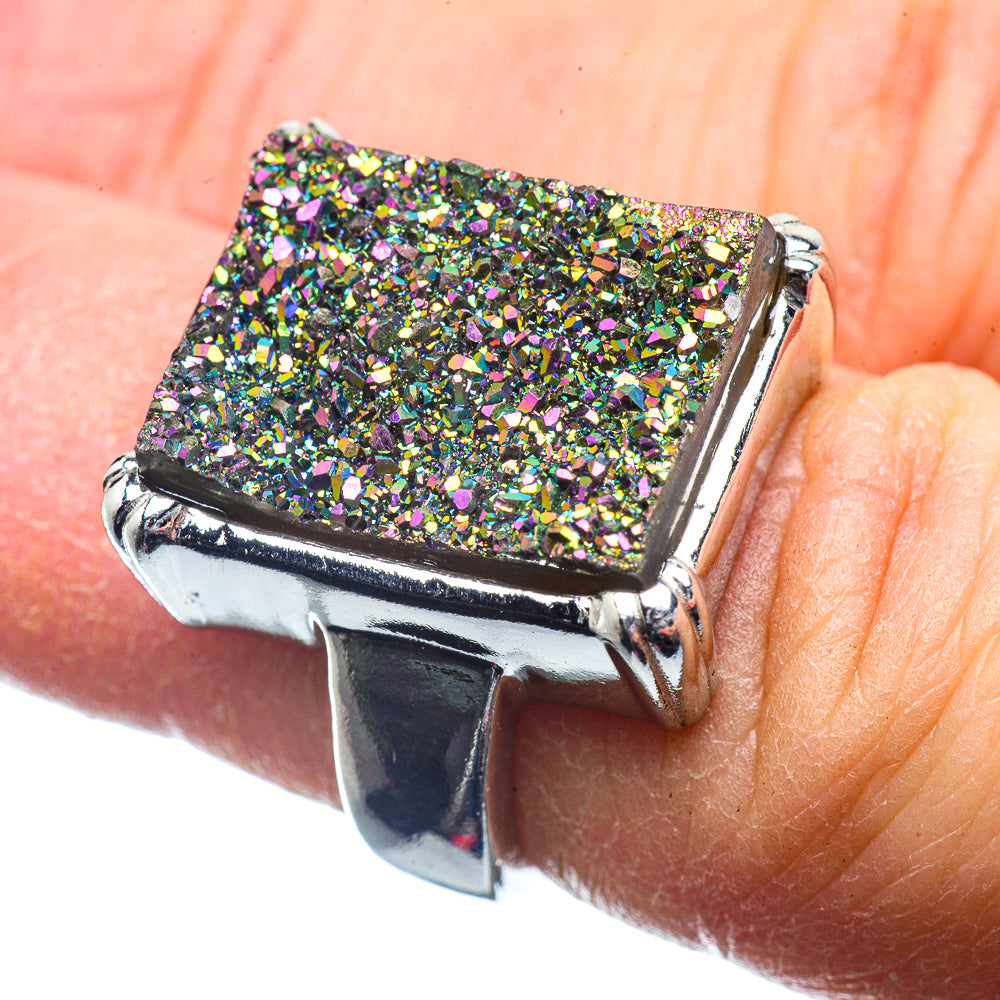 Titanium Druzy Rings handcrafted by Ana Silver Co - RING39660