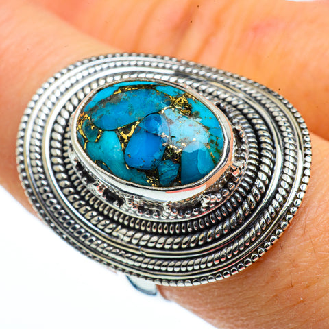 Blue Composite Turquoise Rings handcrafted by Ana Silver Co - RING40330